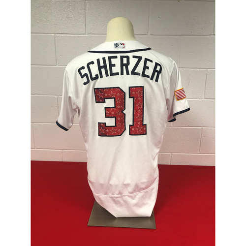 Photo of Max Scherzer Game-Used 2018 Home 4th of July Jersey
