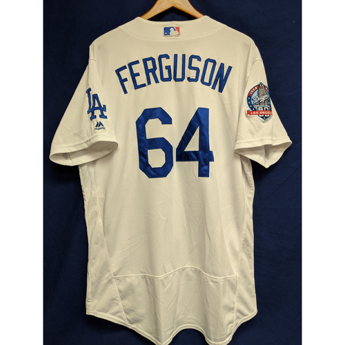 Photo of Caleb Ferguson Game-Used Home Jersey from Regular Season Tie Breaker Game - COL vs LAD - 10/1/18