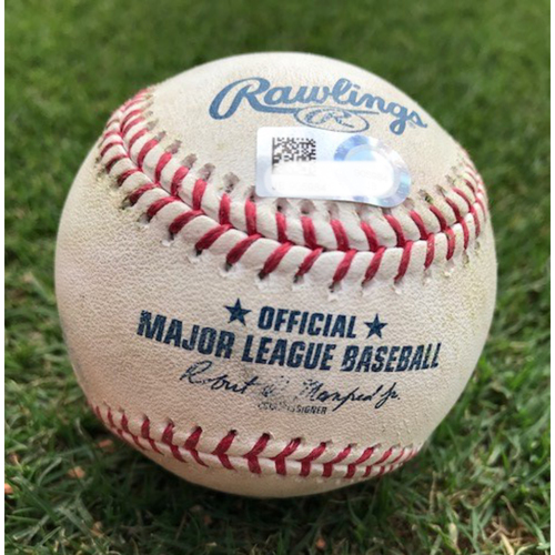 Photo of Game-Used Baseball - Ryon Healy Double/Mike Minor 2Ks - 9/22/18