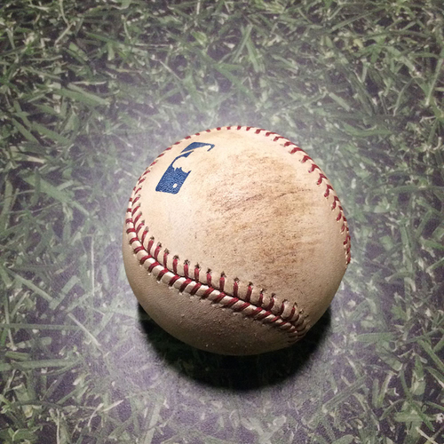 Photo of Game-Used Baseball PIT@MIL 08/13/11 - Kevin Correia - Prince Fielder: Foul