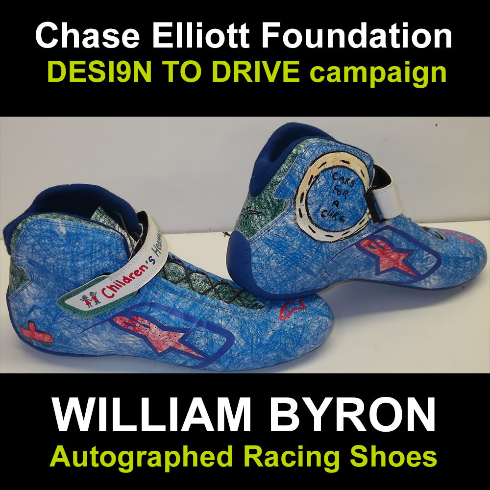 William Byron autographed racing shoes for charity