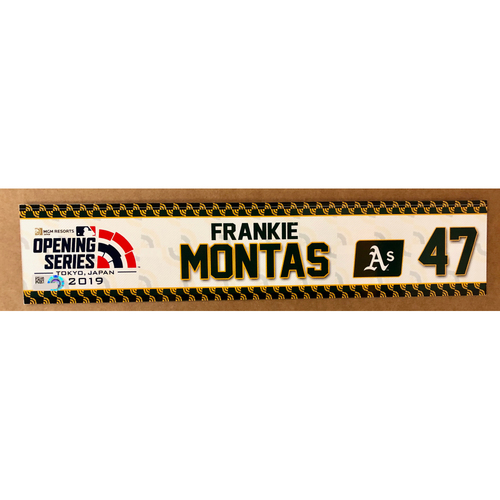 Photo of 2019 Japan Opening Day Series - Game Used Locker Tag - Frankie Montas -  Oakland Athletics