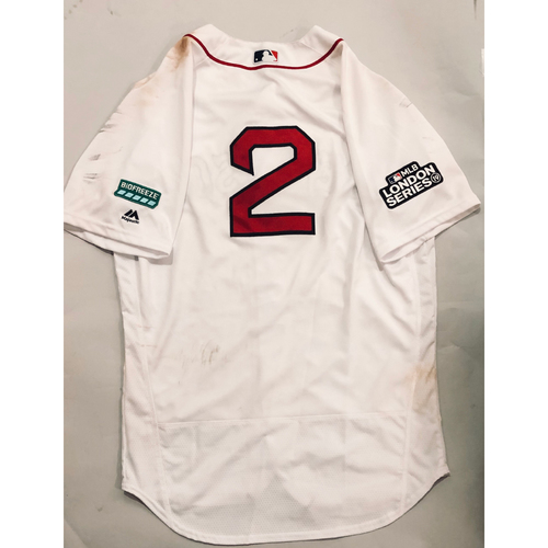 2019 London Series - Game-Used Jersey - Xander Bogaerts, New York Yankees vs Boston Red Sox - 6/29/19
