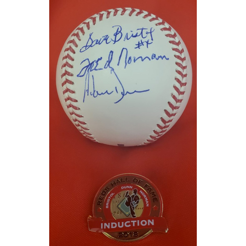 Photo of Adam Dunn, Dave Bristol, & Fred Norman 2018 Induction Autographed Baseball with Induction Pin