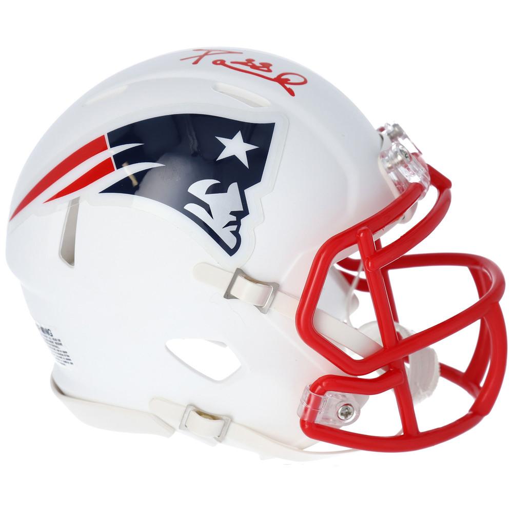 David Pastrnak Boston Bruins Autographed New England Patriots White Matte Mini Helmet - NHL Auctions Exclusive