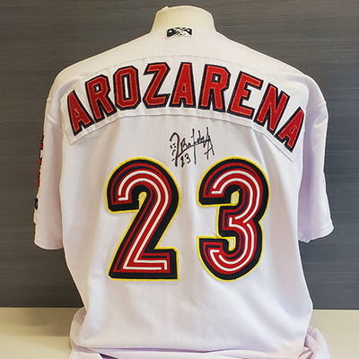 randy arozarena autographed game worn memphis redbirds 2019 home jersey milb auctions milb auctions
