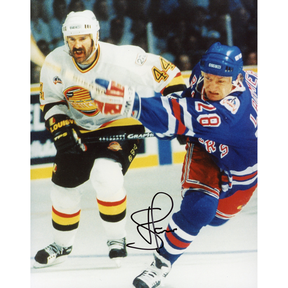 Steve Larmer New York Rangers Autographed 8'' x 10'' Swinging Stick Photograph