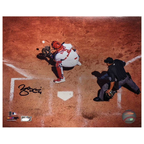 Photo of Cardinals Authentics: Yadier Molina Overhead Autographed 8 x 10 Photo