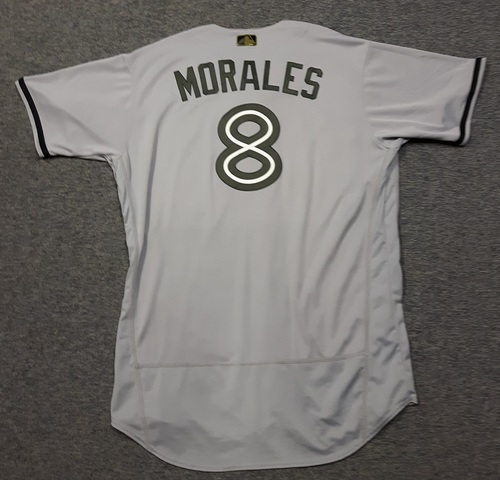 Photo of Authenticated Game Used 2018 Memorial Day Jersey - #8 Kendrys Morales (May 26, 2018. May 28, 2018: 1-for-4 with 1 RBI). Size 50