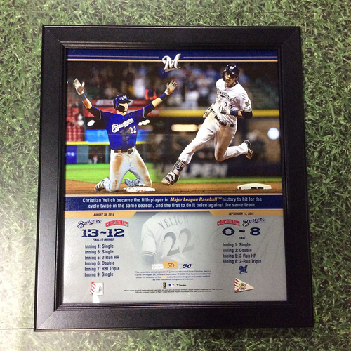 """Photo of Christian Yelich 2018 Commemorative """"Hit for Cycles"""" Framed Piece with Game-Used Baseball Swatches - Limited Edition #50 / 50"""