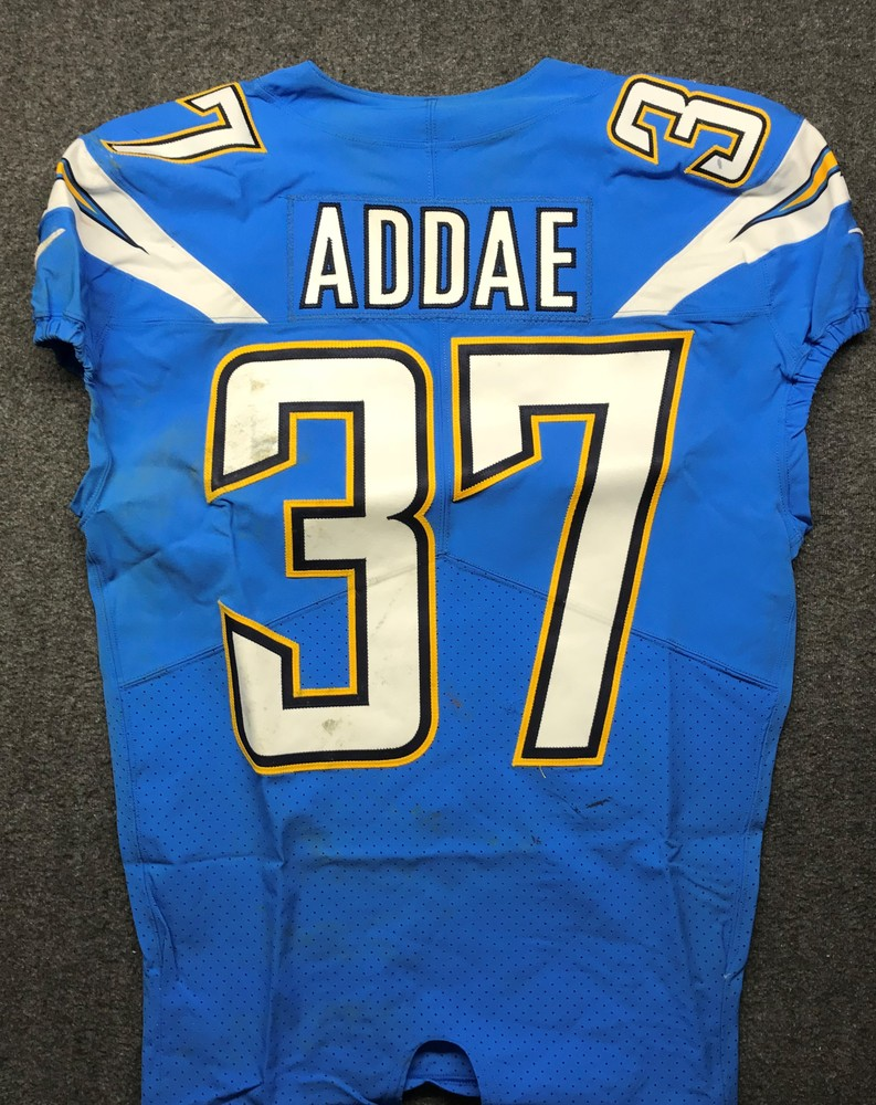 California Wildfire Relief - Chargers  Jahleel Addae Game worn Jersey (10/21/18)