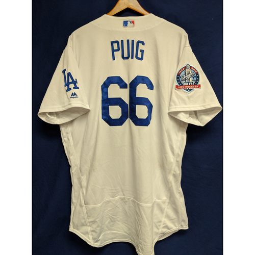 Yasiel Puig Game-Used Home Jersey from Regular Season Tie Breaker Game - COL vs LAD - 10/1/18