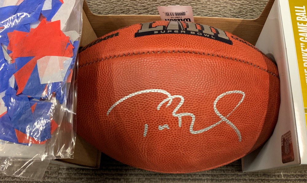 Super Bowl 53 Authentic Football Signed By Tom Brady + Confetti from the field during the Super Bowl Celebration