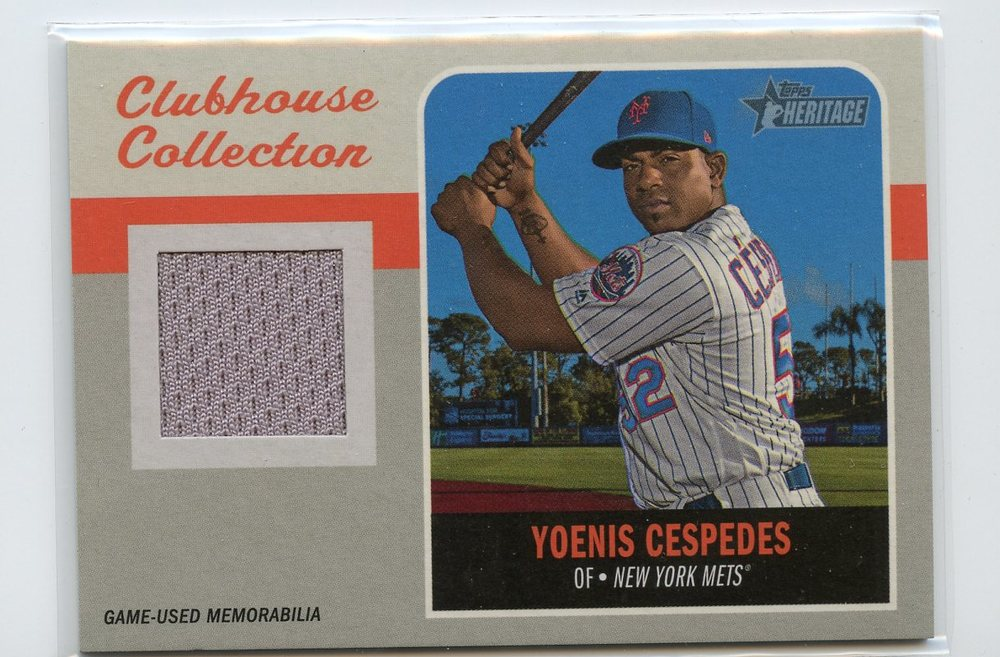 2019 Topps Heritage Clubhouse Collection Relics #CCRYC Yoenis Cespedes