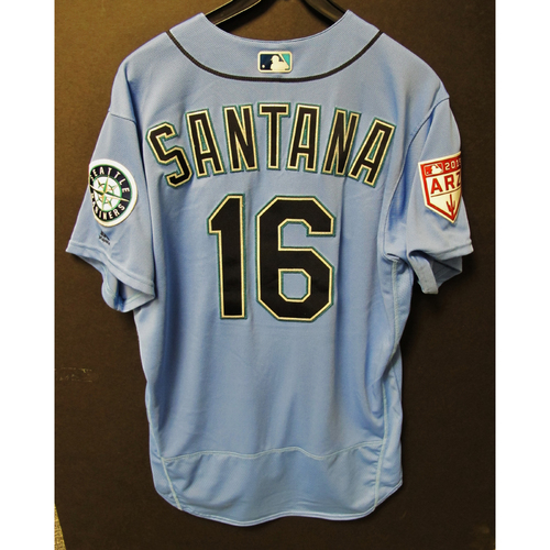 Photo of Domingo Santana Game Used Light Blue Spring Training Jersey 2019  Exhibition Game - SD @ SEA 3-26-2019
