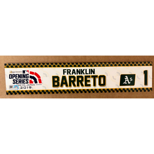 Photo of 2019 Japan Opening Day Series - Game Used Locker Tag - Franklin Barreto -  Oakland Athletics