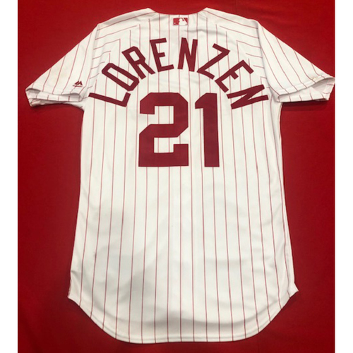 Photo of Michael Lorenzen -- 1967 Throwback Jersey -- Game-Used for Rockies vs. Reds on July 28, 2019 -- Jersey Size: 44