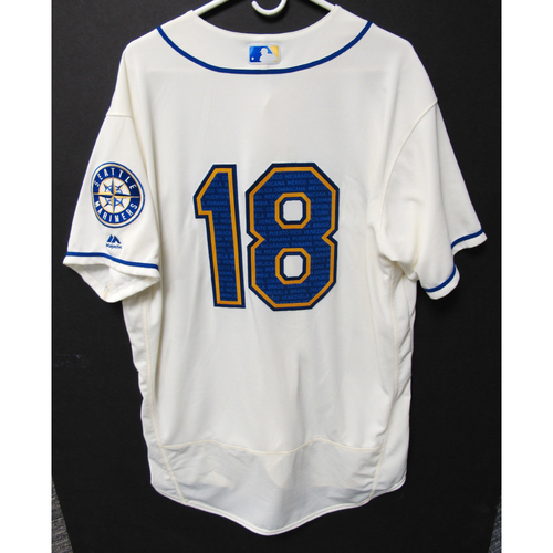 Photo of Seattle Mariners Yusei Kikuchi Game-Used Marineros Jersey (Salute to Latin American) 9-15-2019