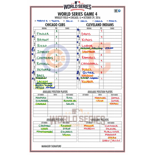 Photo of 2016 World Series Game Used Lineup Card -  Cleveland Indians at Chicago Cubs- Game #4 (10-29-2016) - Cubs Dugout