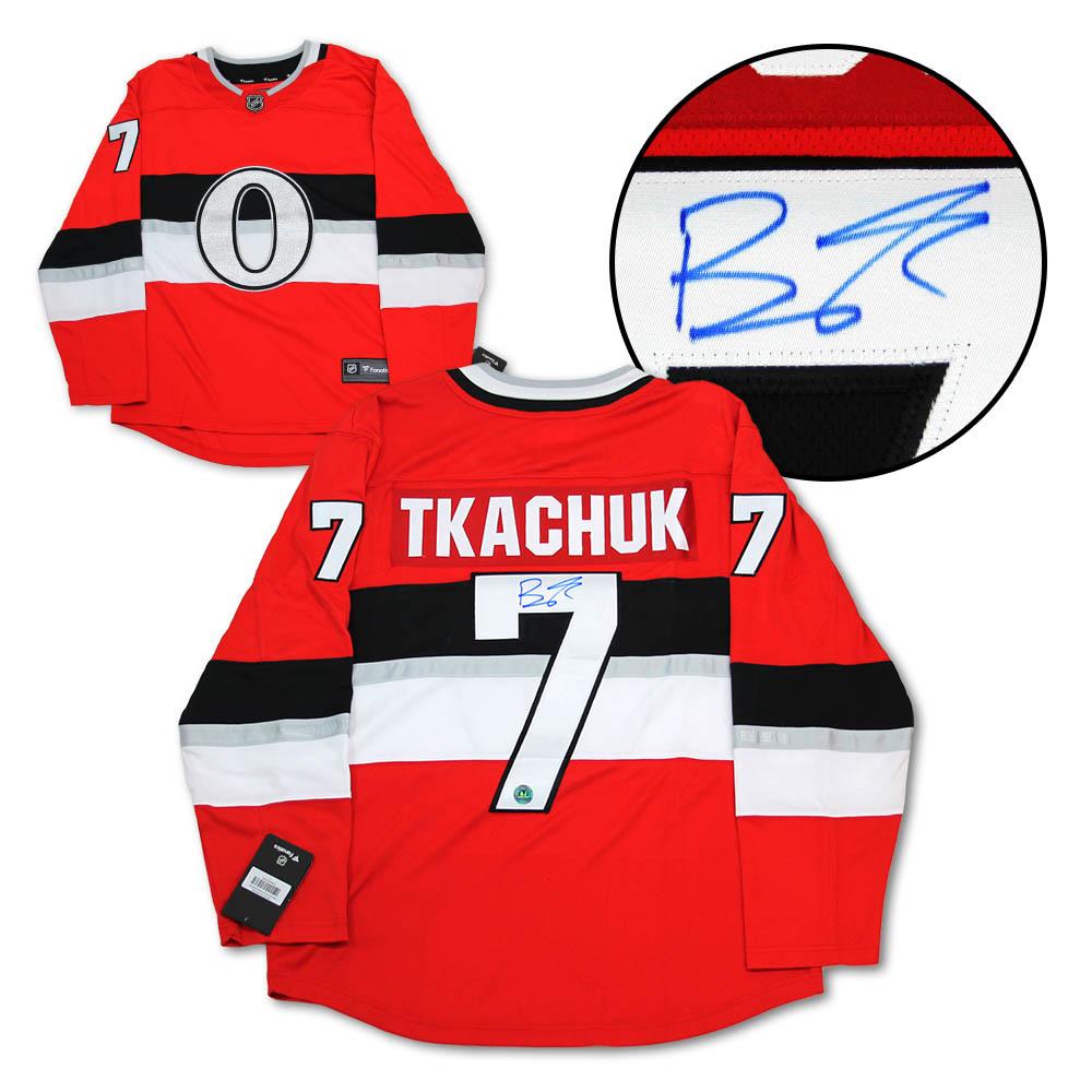 Brady Tkachuk Ottawa Senators Autographed NHL 100 Fanatics Hockey Jersey