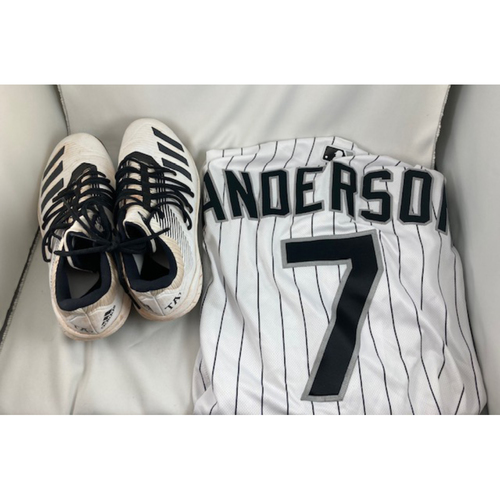 Photo of The Batting Title - Tim Anderson 2019 Game-Used White Pinstripe Jersey and Cleats (Cleats are NOT MLB Authenticated)
