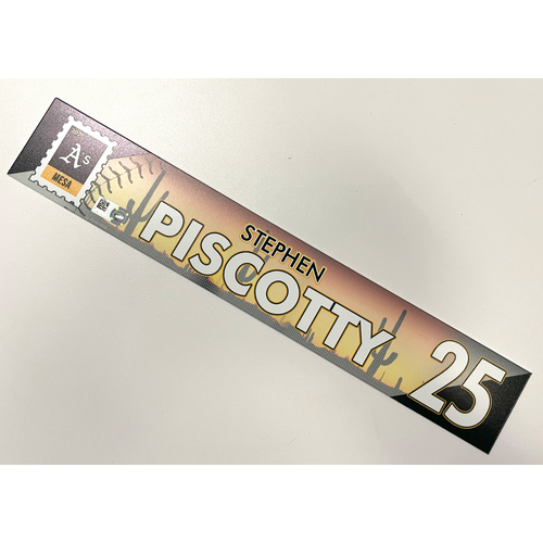 Photo of Game-Used 2021 Spring Training Locker Nameplate - Stephen Piscotty