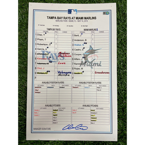 Photo of Game Used Lineup Card: Charlie Morton (W, 6.0IP, 5 SO) - Avisail Garcia (7) Home Run - May 14, 2019 at MIA