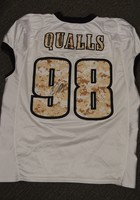 EAGLES - ELIJAH QUALLS SALUTE TO SERVICE SIGNED PRACTICE WORN JERSEY NOVEMBER 2017 WITH CAMO NUMBERS