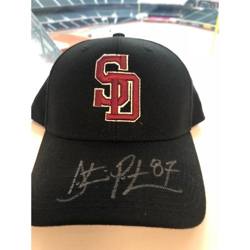 Photo of Dustin Peterson Autographed, Game-Worn Stoneman Douglas Eagles Cap