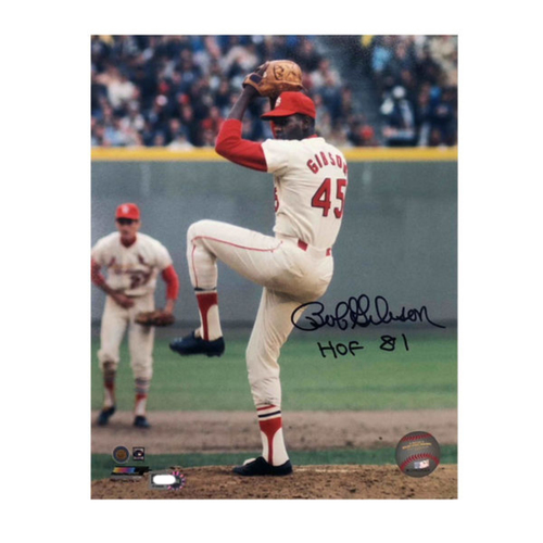 Photo of Cardinals Authentics: Bob Gibson Pitching Autographed 8 x 10 Photo