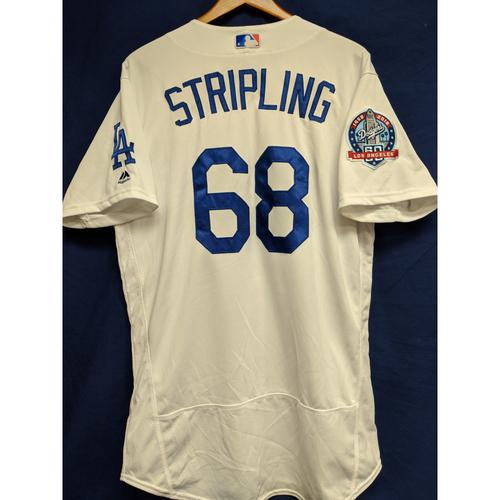 Ross Stripling Game-Used Home Jersey from Regular Season Tie Breaker Game - COL vs LAD - 10/1/18
