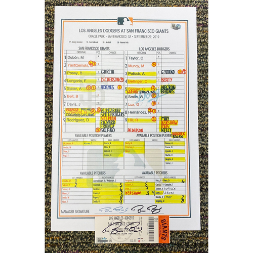 Photo of 2019 Autographed Replica Lineup Card & Ticket Stub signed by Bruce Bochy from his Final Game - 9/29 vs. Los Angeles Dodgers