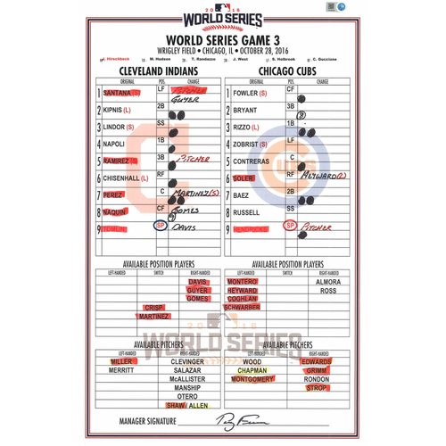Photo of 2016 World Series Game Used Lineup Card -  Cleveland Indians at Chicago Cubs- Game #3 (10-28-2016)