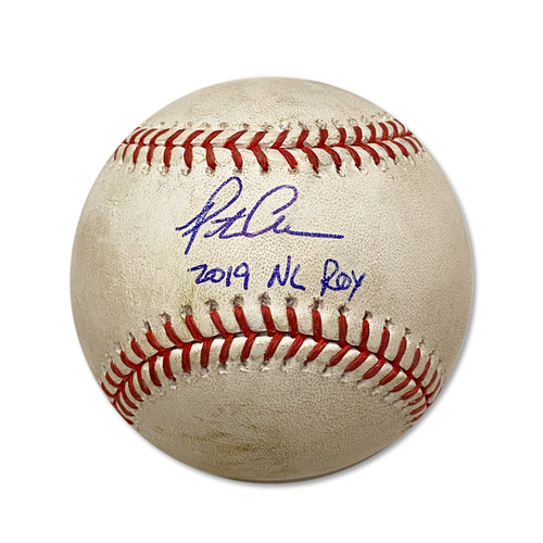 Photo of Pete Alonso Autographed Game Used Baseball - Mike Soroka to Pete Alonso - Single - 1st Inning - Mets vs. Braves - 9/29/19