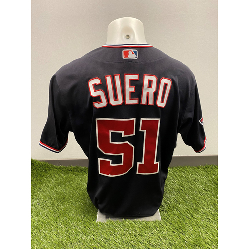 Photo of Wander Suero 2020 Game-Used World Series Champions Navy Script Jersey