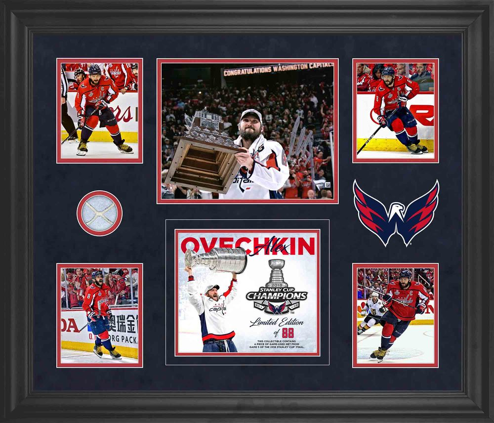 Alex Ovechkin Washington Capitals Framed Autographed 5-Photo Collage With A Piece Of Game-Used Net from Game 5 of the 2018 Stanley Cup Final - #1 of a L. E. of 88