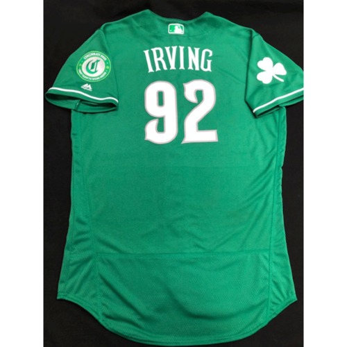 Photo of Nate Irving -- Game-Used Jersey -- 2019 St. Patrick's Day