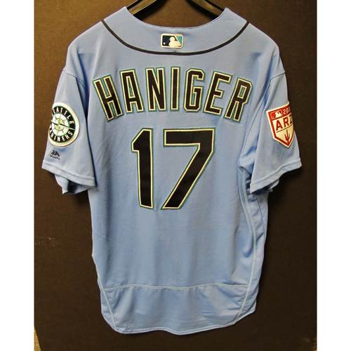 Photo of Mitch Haniger Game Used Light Blue Spring Training Jersey 2019  Exhibition Game - SD @ SEA 3-26-2019