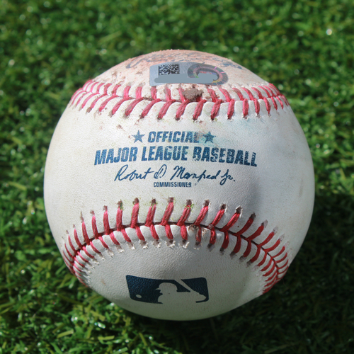 Photo of Game-Used Baseball: Dee Gordon 988th Career Hit and 204th Career RBI (SEA @ KC - 4/8/19)