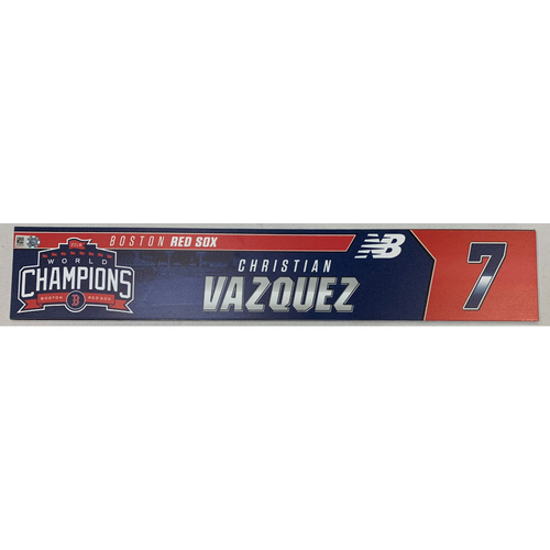 Photo of Christian Vazquez Game Used June 9, 2019 Locker Tag