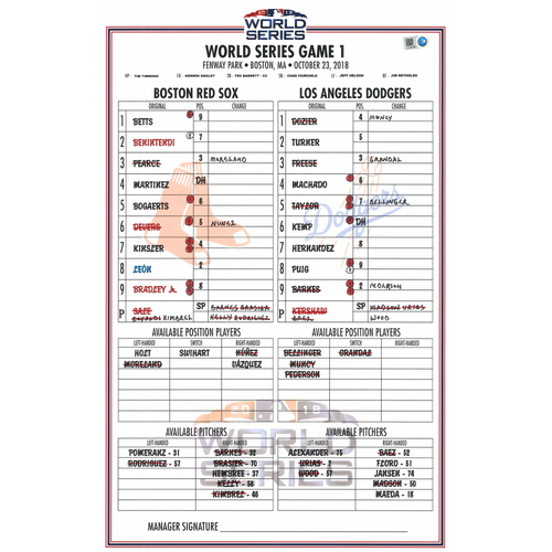 Photo of 2018 World Series Game Used Lineup Card -  Los Angeles Dodgers at Boston Red Sox- Game #1 (10-23-2018) - Red Sox Dugout