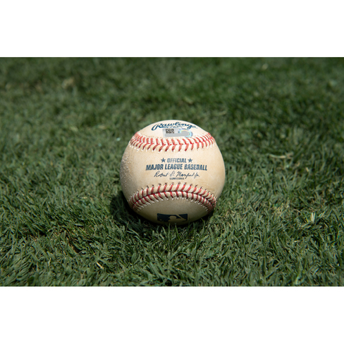 Photo of Game Used Baseball: Pitcher: Nick Margevicius, Batter: Brian Goodwin - Home Run - Bot 5 - 7-29-2020 vs. SEA