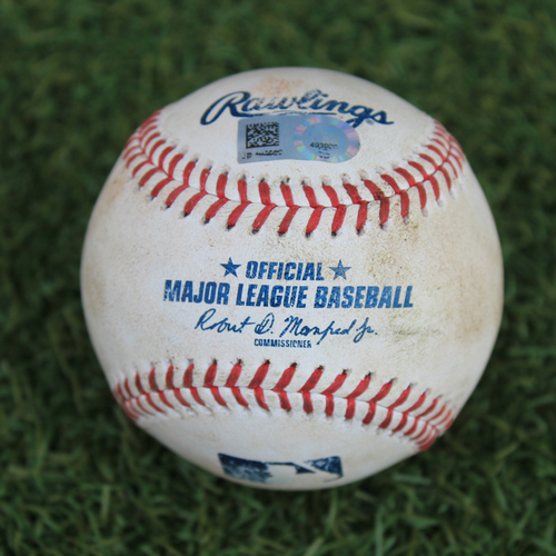 Photo of Game-Used Baseball: Carlos Hernandez 2nd Career Strikeout (CLE @ KC 9/1/20)
