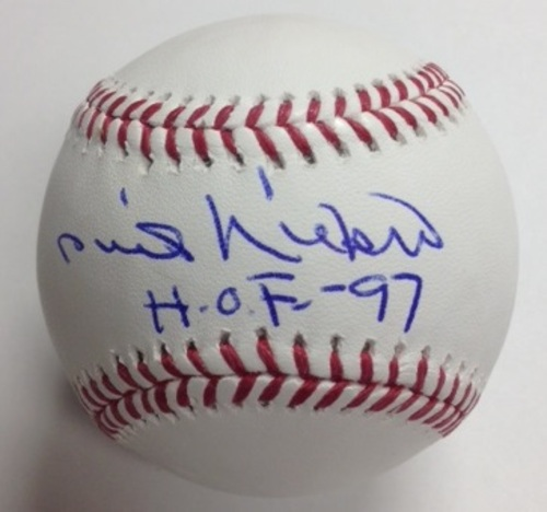 "Photo of Phil Niekro Autographed ""HOF 97"" Baseball"