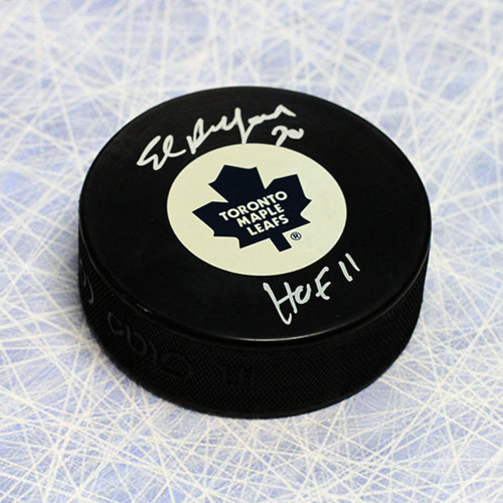 Ed Belfour Toronto Maple Leafs Autographed Hockey Puck with HOF Note