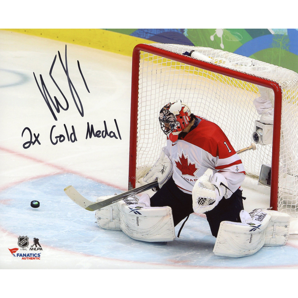 Roberto Luongo Team Canada Autographed 8'' x 10'' Photograph with 2X Gold Inscription