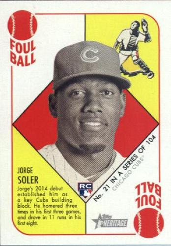 Photo of 2015 Topps Heritage '51 Collection #21 Jorge Soler Rookie Card