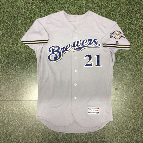 Photo of Travis Shaw 09/30/17 Game-Used Road Grey Jersey - 100th RBI Game (1st 100 RBI Season)