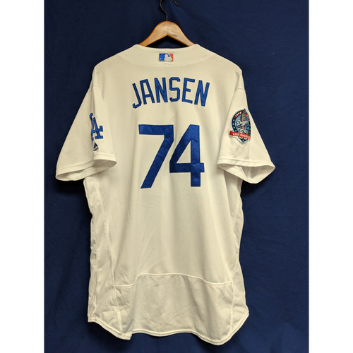 Photo of Kenley Jansen Game-Used Home Jersey from Regular Season Tie Breaker Game - COL vs LAD - 10/1/18