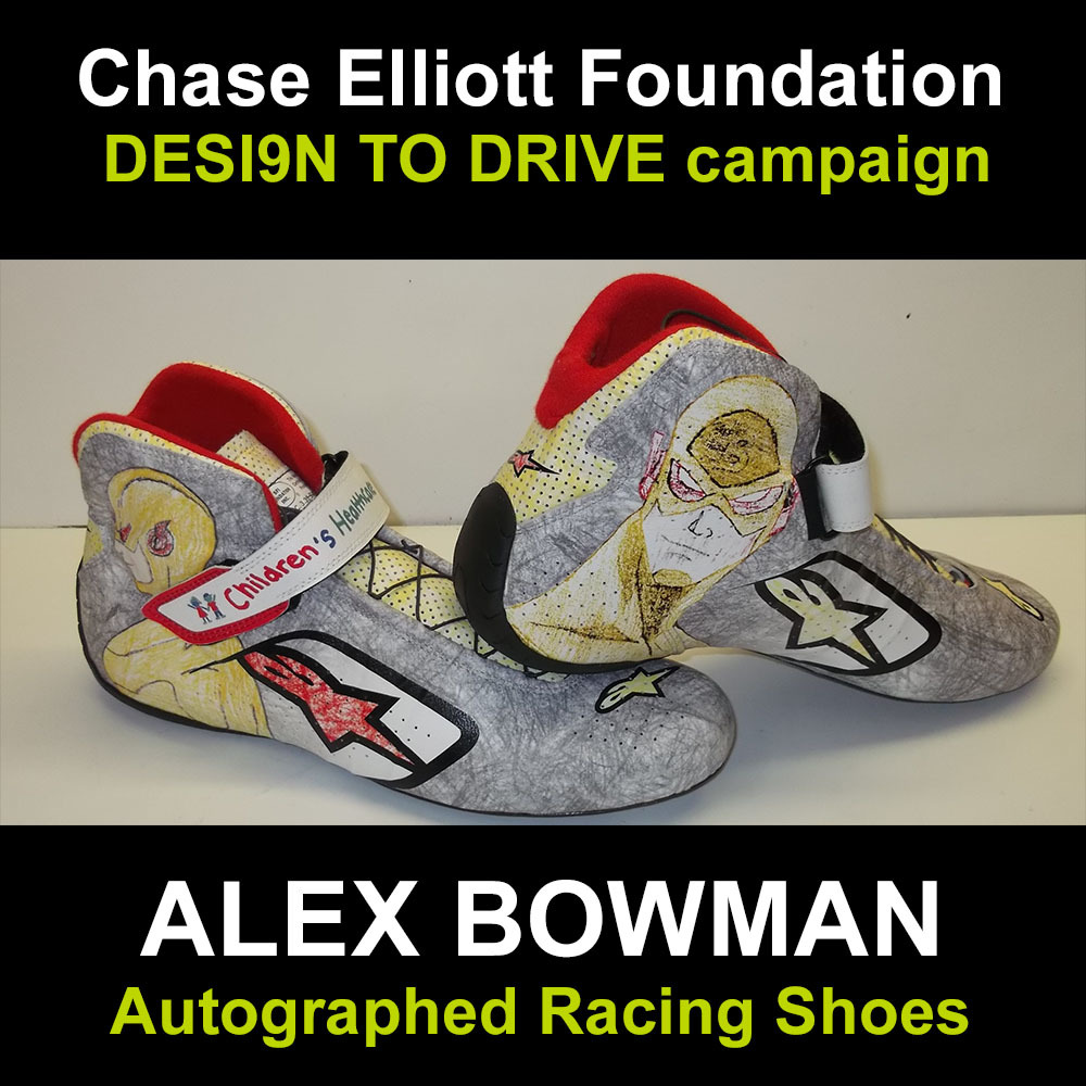 Alex Bowman autographed racing shoes for charity